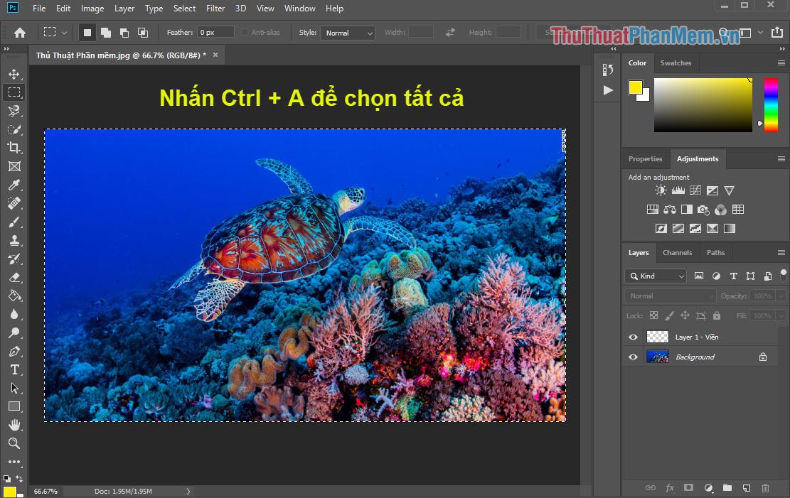 Chọn tất cả nội dung trong Photoshop bằng cách nhấn Ctrl + A