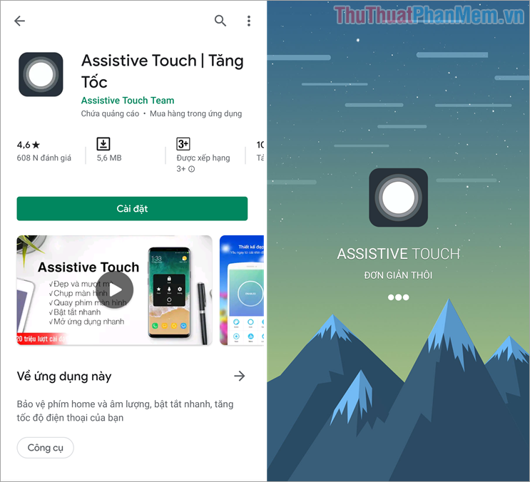 Giao diện phần mềm Assistive Touch