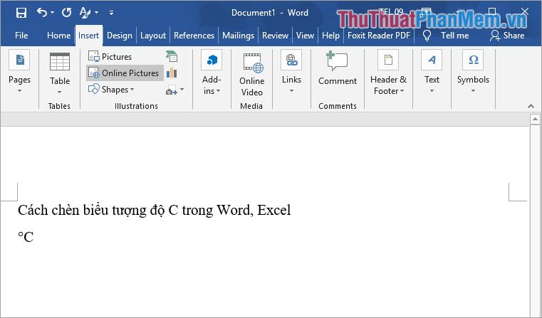 Trên trang Word sẽ có biểu tượng độ C