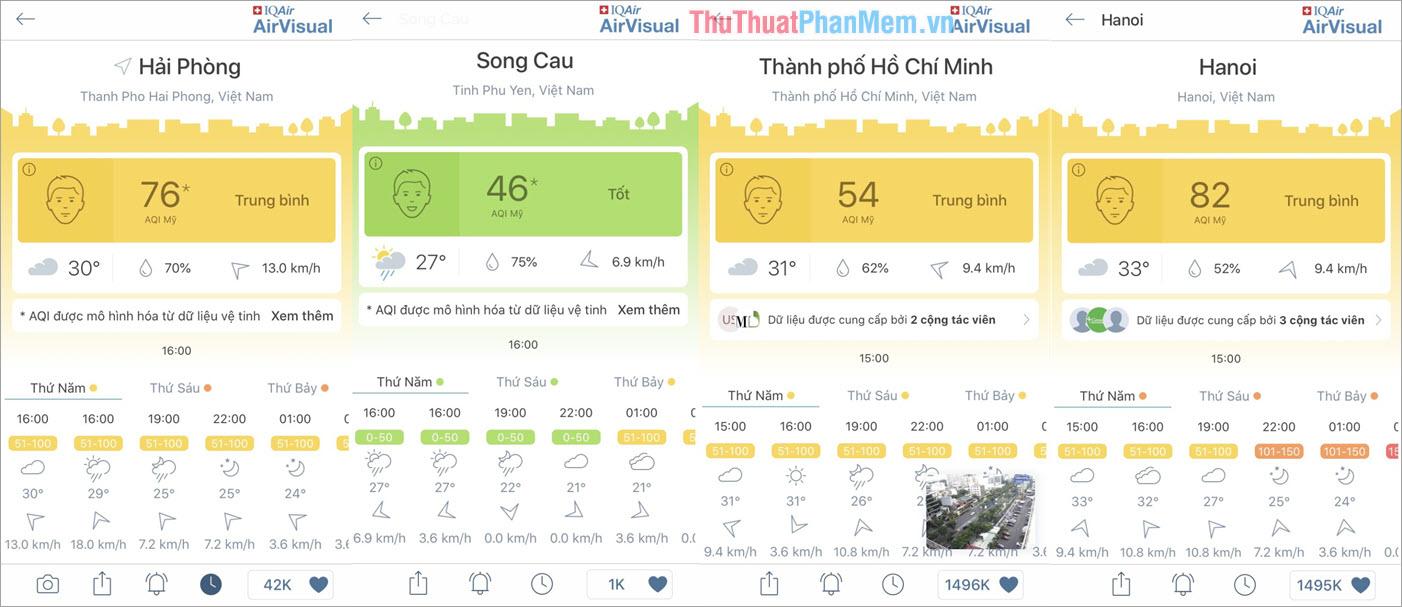 Bạn có thể theo dõi được các thông tin về không khí tại nơi ở mình
