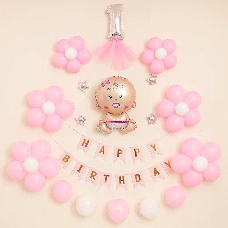 Backdrop sinh nhật bé gái 1 tuổi