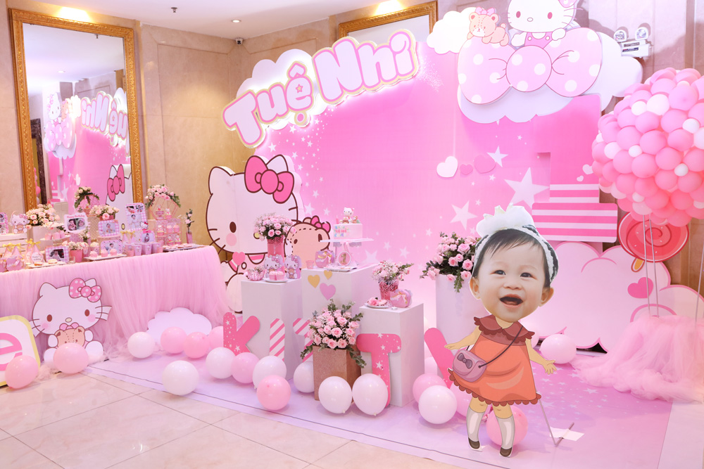 Backdrop sinh nhật bé gái dễ thương