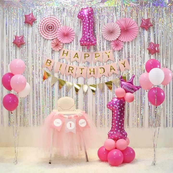 Backdrop sinh nhật đẹp màu hồng