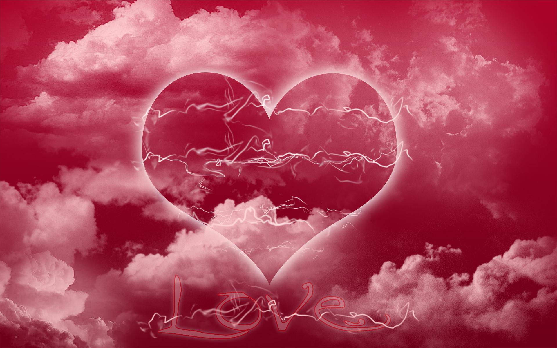 Hình nền mây trái tim đẹp