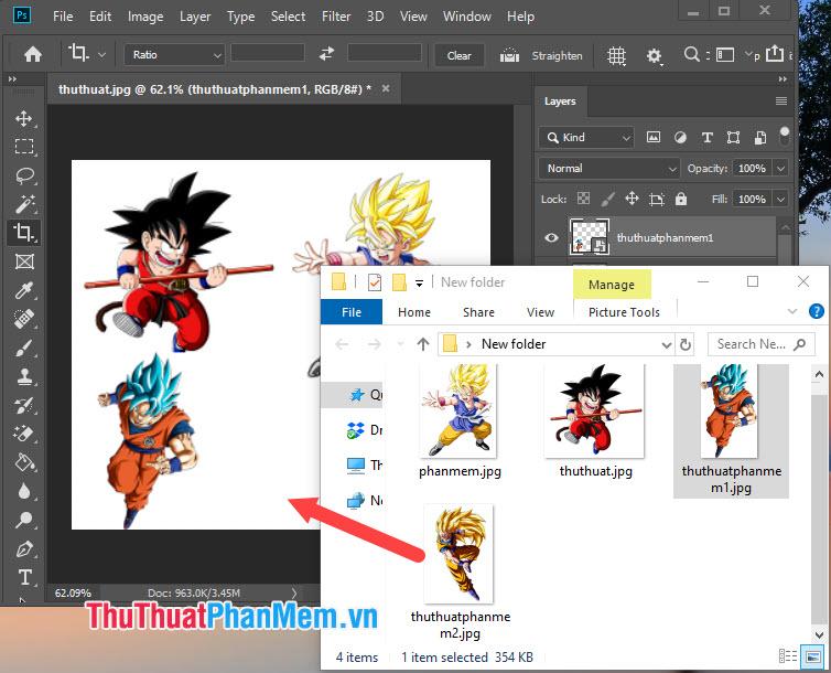 Kéo và thả để ghép thêm ảnh vào trong Photoshop