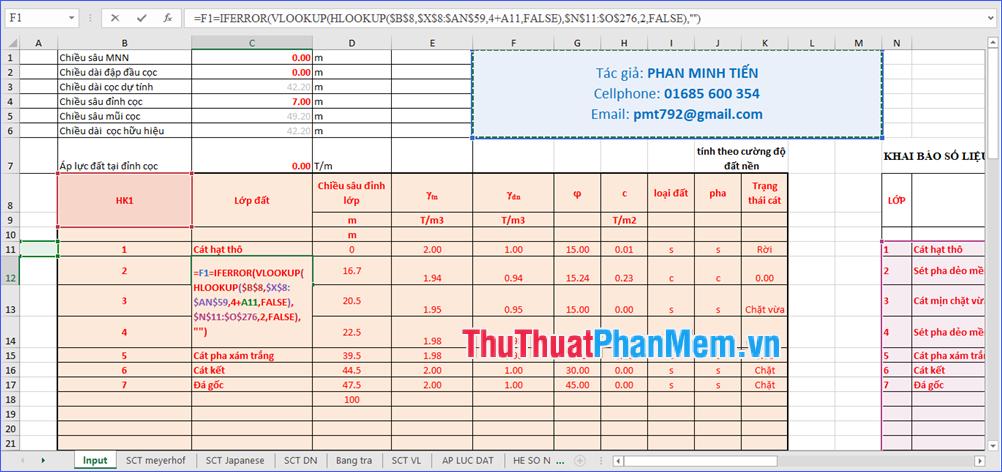 Bảng tính sức chịu tải cọc theo TCVN 10304:2014