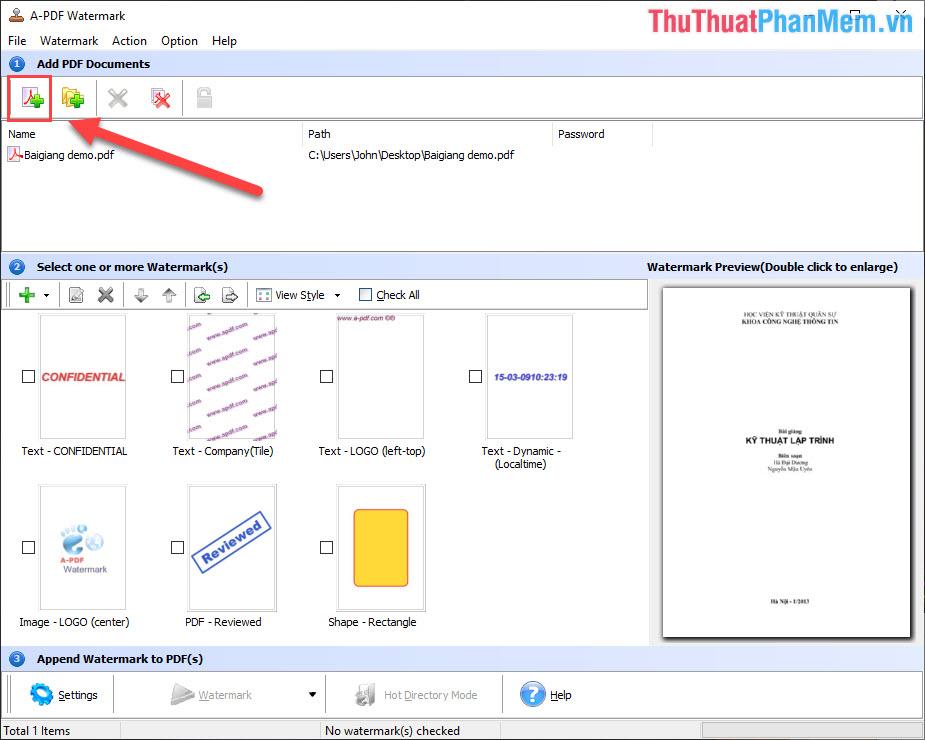 Chọn biểu tượng Open PDF