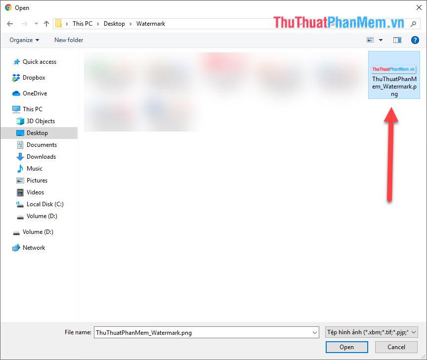 Chọn hình ảnh Watermark cần đóng dấu trên máy tính của bạn