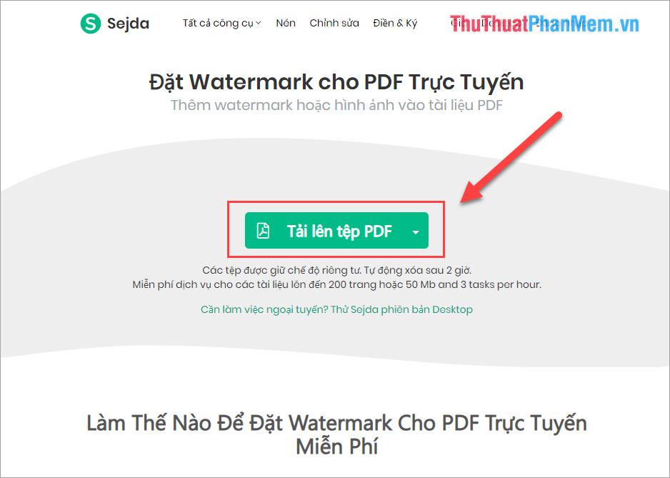 Chọn Tải lên tệp PDF
