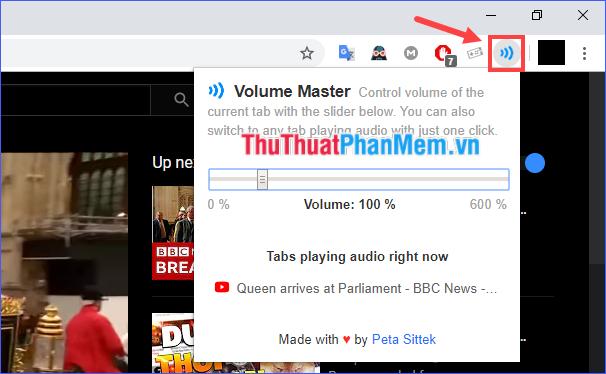 Click vào biểu tượng của Volume Master