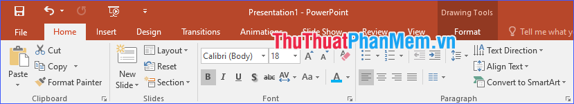 Tùy chỉnh font size trong tab Home
