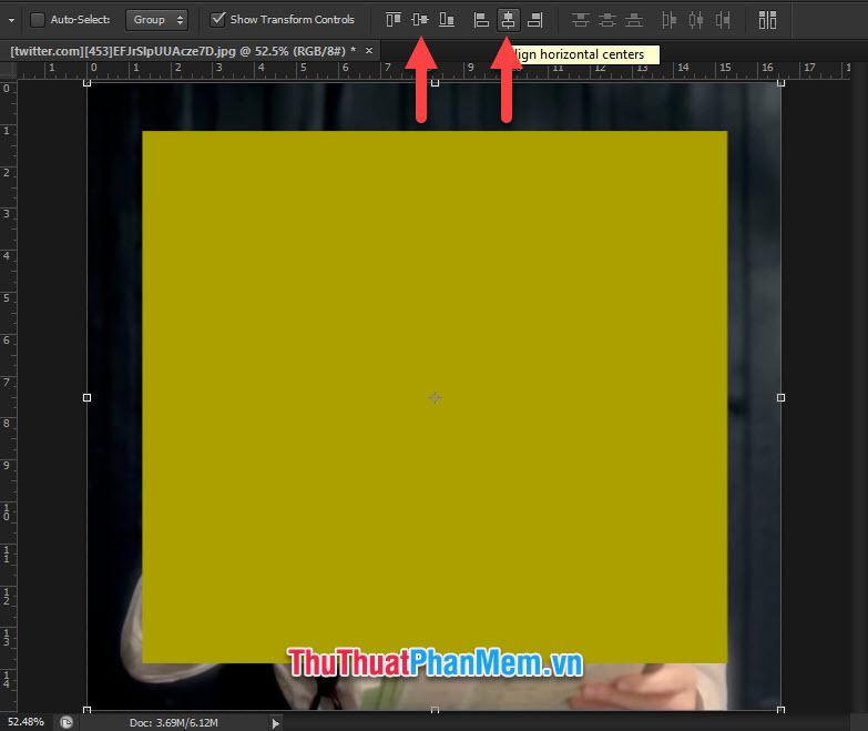Chọn hai biểu tượng căn giữa theo chiều dọc và căn giữa theo chiều ngang